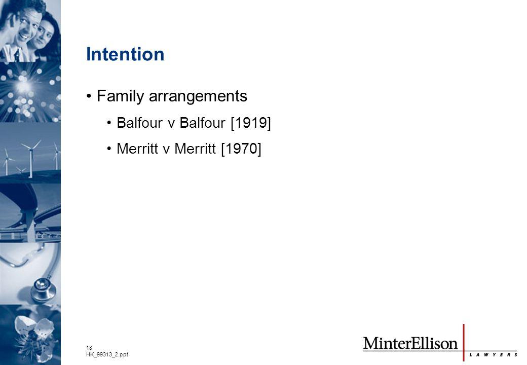 Intention Family arrangements Balfour v Balfour [1919]